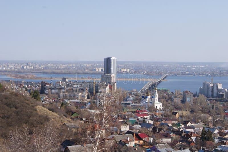 panorama- saratov för höststad sikt fotografering för bildbyråer