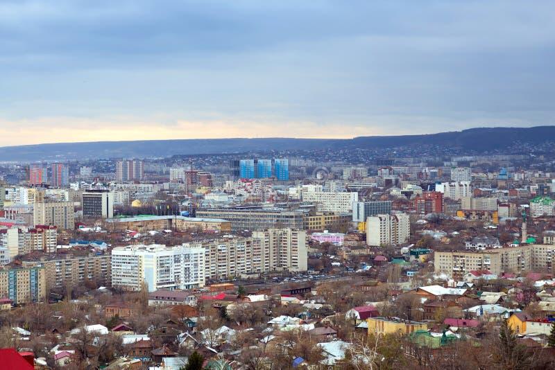 panorama- saratov för höststad sikt Ryssland royaltyfri fotografi