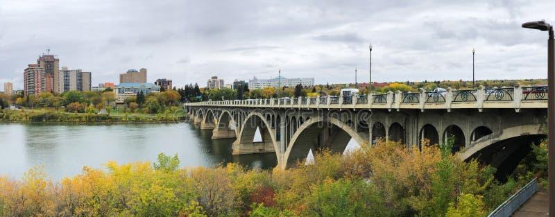 Panorama of Saskatoon, Canada skyline by river. A Panorama of Saskatoon, Canada skyline by river stock image