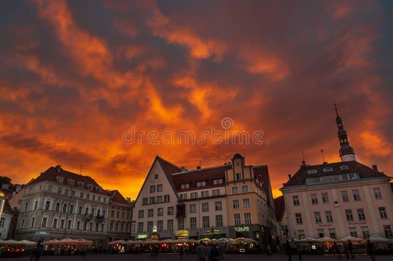 Panorama scénique de soirée de la ville Hall Square Raekoja Plats dans la vieille ville à Tallinn, Estonie image stock
