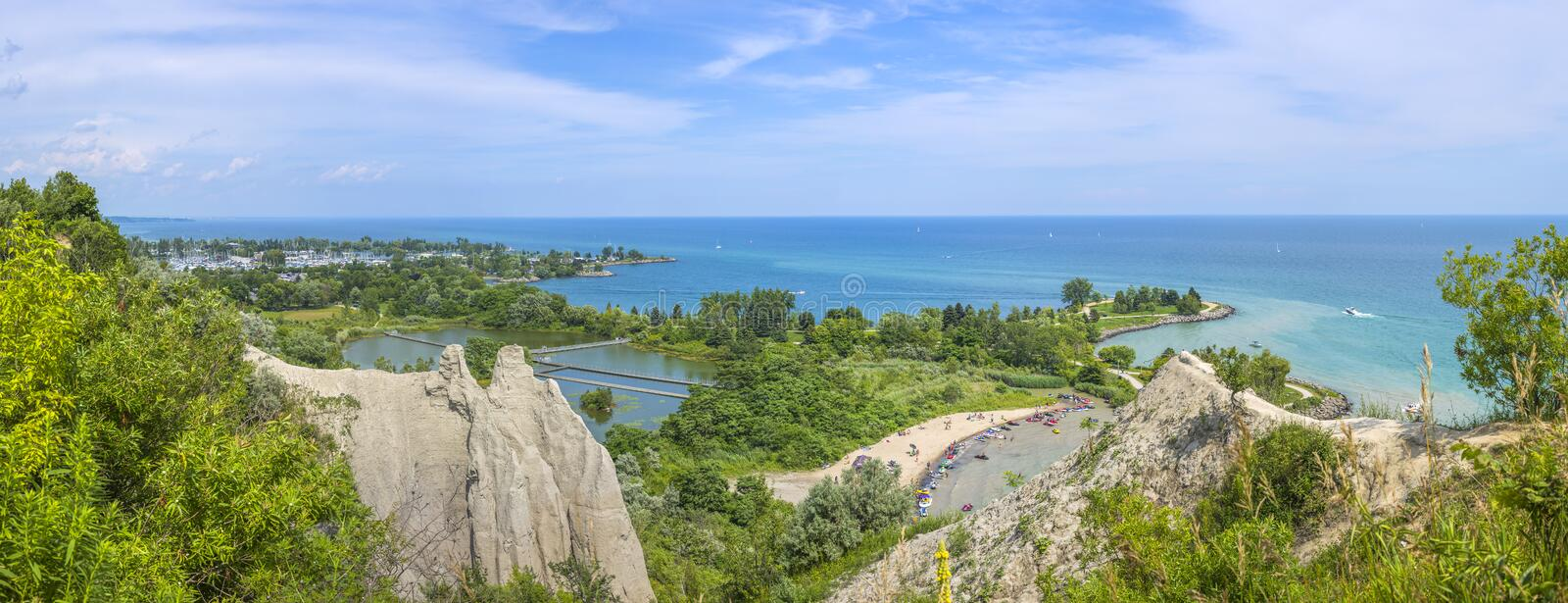 Panorama of Scarborough Bluffs. Toronto, Canada. Scarborough Bluffs Panorama in Toronto, Canada stock images