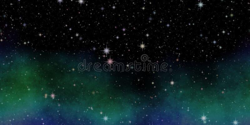 Panorama- se in i djupt utrymme Mörk natthimmel mycket av stjärnor Nebulosan i yttre rymd royaltyfri illustrationer