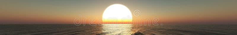 Panorama of sea sunset, sunrise. royalty free stock photo