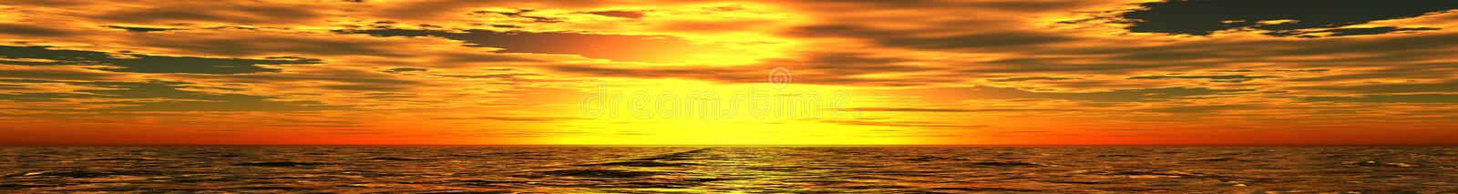 Panorama of sea sunset stock images