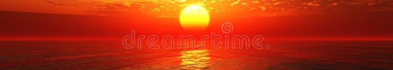 Panorama of sea sunset stock photos