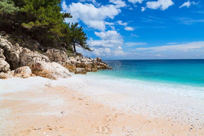 Panorama of seascape with greek Saliara aka Marble Beach, Thassos Island, Greece. Panorama seascape with greek Marble Beach in Thassos Island, Greece with stock photo