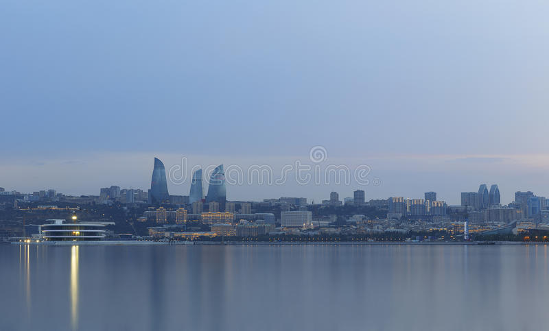 Panorama of seaside boulevard in Baku Azerbaijan royalty free stock images