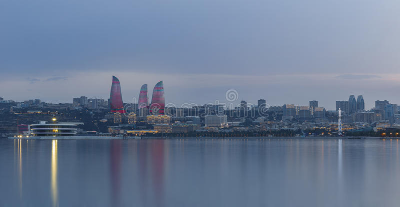 Panorama of seaside boulevard in Baku Azerbaijan stock photos