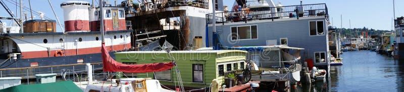 Panorama, Seattle houseboats zdjęcia royalty free
