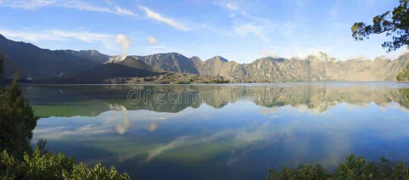 Panorama of Segara Anak on Mount Rinjani crater lake. Lombok, Indonesia stock images