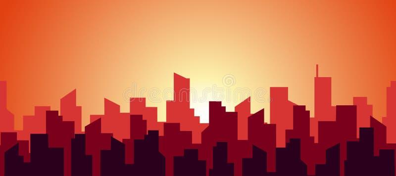 Panorama sem costura de uma manhã quente em uma cidade grande A silhueta dos telhados de arranha-céus em vermelho e laranja quent ilustração stock