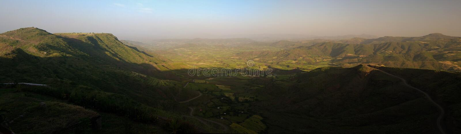 Panorama of Semien mountains and valley around Lalibela Ethiopia. Panorama of Semien mountains and valley around Lalibela, Ethiopia stock photo