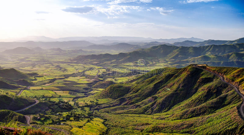 Panorama of Semien mountains and valley around Lalibela Ethiopia. Panorama of Semien mountains and valley around Lalibela, Ethiopia stock photos
