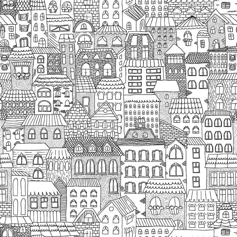 Panorama senza cuciture di schizzo in bianco e nero della città illustrazione di stock