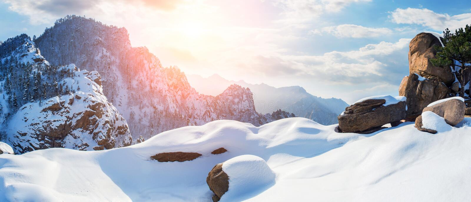 Panorama of Seoraksan in winter with sunny,Famous mountain in Ko royalty free stock photos