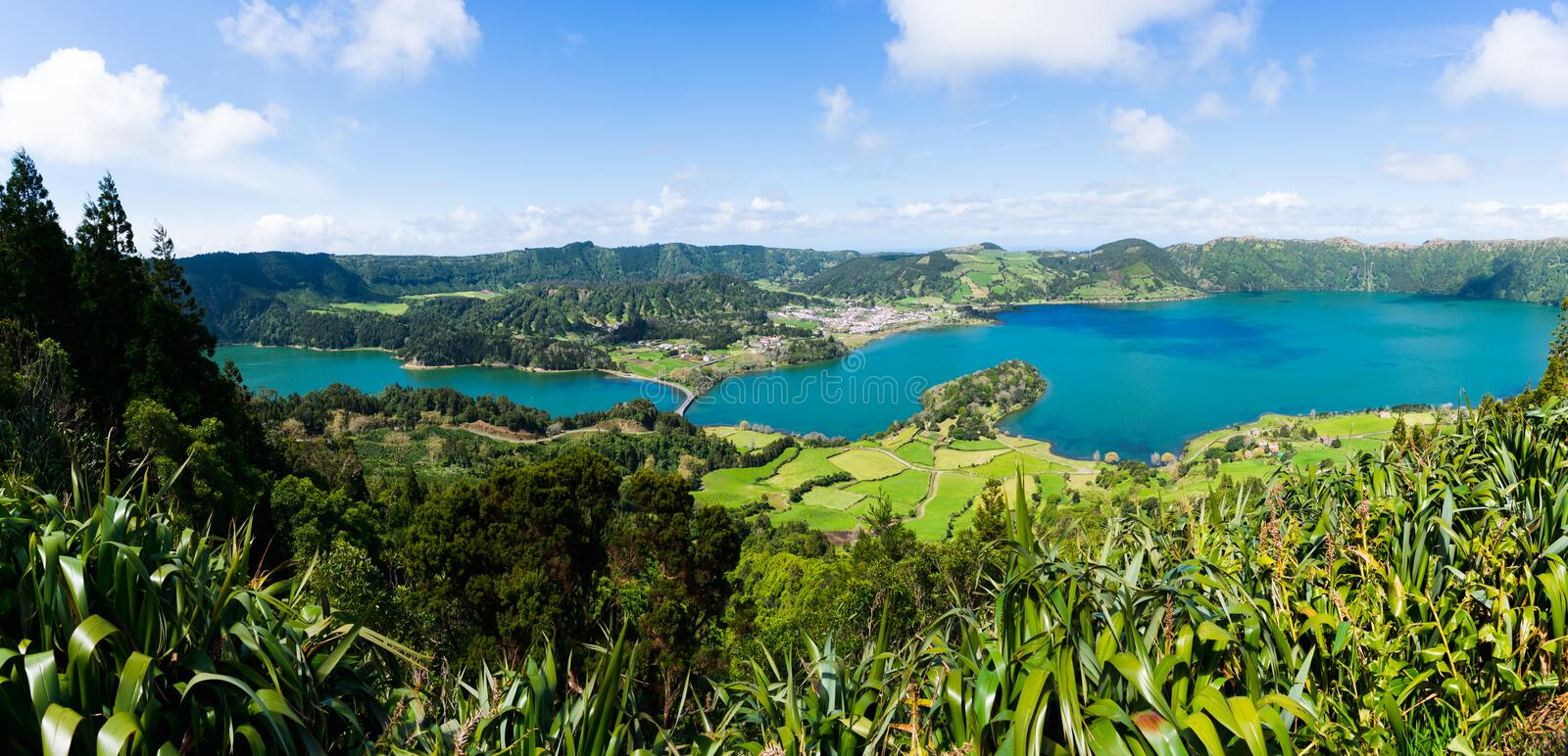 Panorama of Sete Cidades from the hill stock image