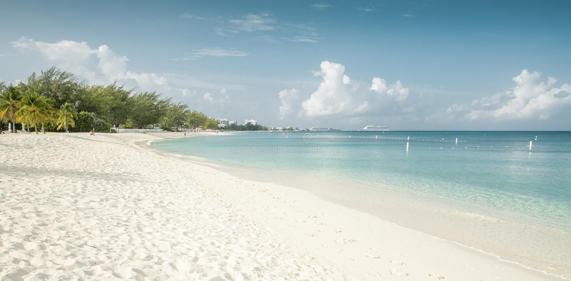 Panorama of Seven Mile Beach on Grand Cayman island stock photo