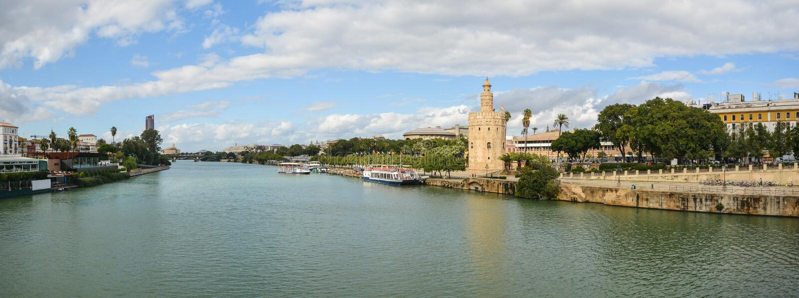 Panorama of Seville, the Golden Tower and the embankment. Of the river. Torre del Oro is one of the symbols of the capital of Andalusia in Spain stock images