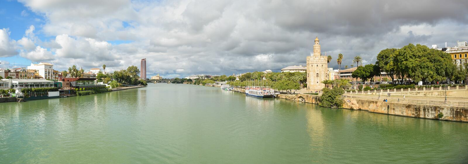 Panorama of Seville, the Golden Tower and the embankment. Of the river. Torre del Oro is one of the symbols of the capital of Andalusia in Spain stock photo