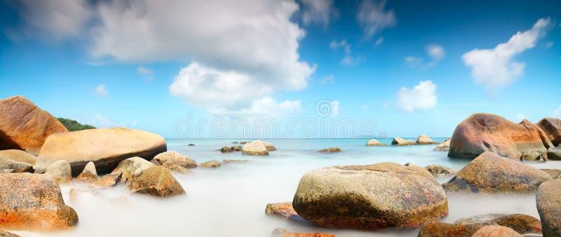 Panorama Seychelles lagoon sunlight beach sea horizontal background royalty free stock images