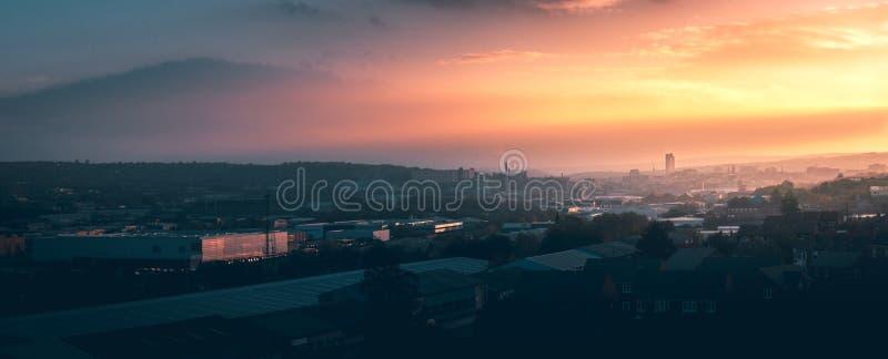 A panorama of Sheffield city at sunset stock photos