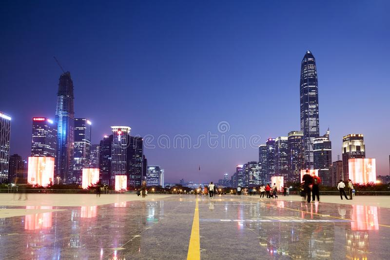 Shenzhen skyline night, Guangdong, China royalty free stock image