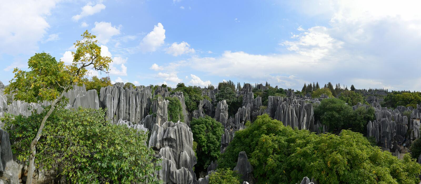 The panorama of Shilin Stone Forest in Kunming, Yunnan, China. Shilin Stone Forest in Kunming, Yunnan province, China stock photos