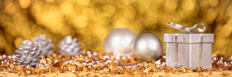 Panorama with shiny christmas decoration stock photo