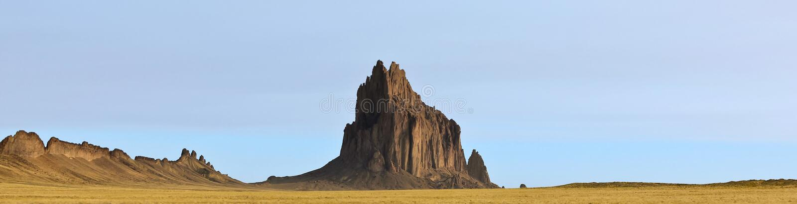 A Panorama of Shiprock in New Mexico stock images