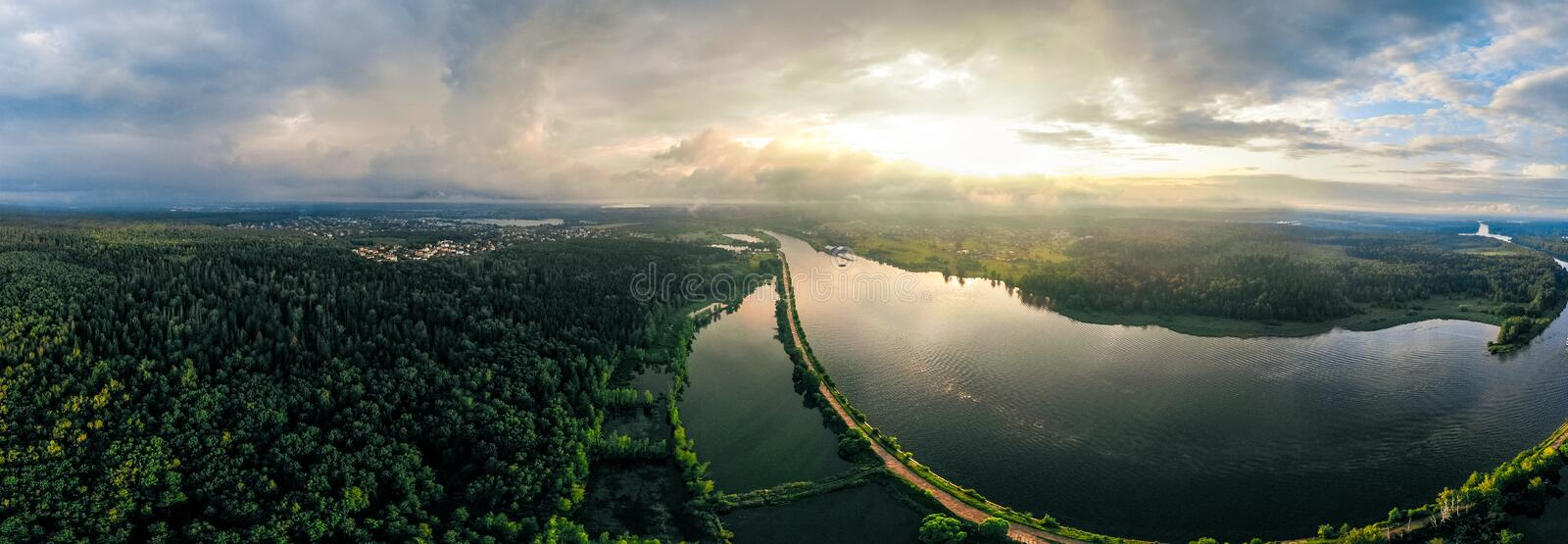 Panorama of the ships leaving the canal. forest and river in Russia stock photography