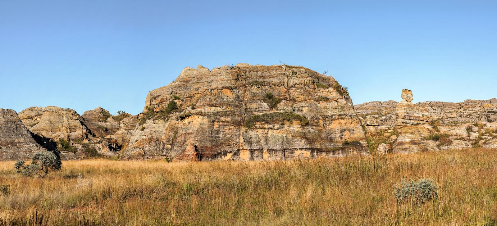 Panorama shot - rocky terrain at Isalo national park Madagscar, rock formation known as Lady Queen of Isalo also royalty free stock photography