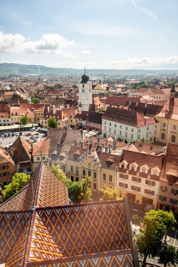 Panorama of Sibiu, Transylvania, Romania royalty free stock photo