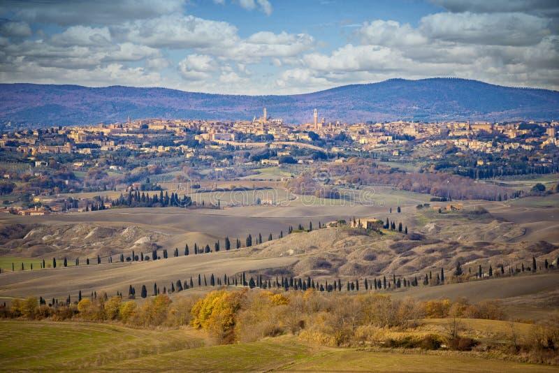 Panorama of Siena seen from Val D`Arbia. Siena, Tuscany, Italy. royalty free stock photos