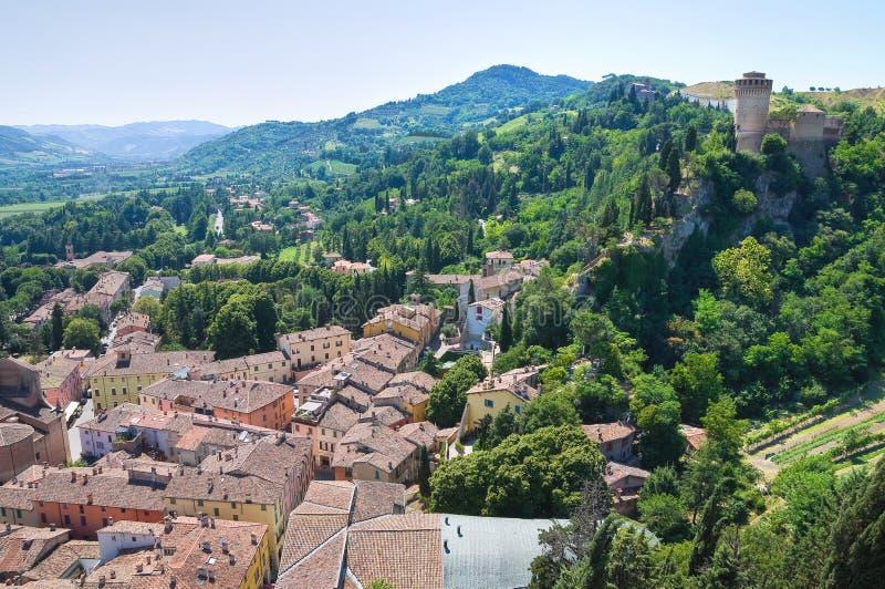 Panorama- sikt av Brisighella. Emilia-Romagna. Ita arkivfoto
