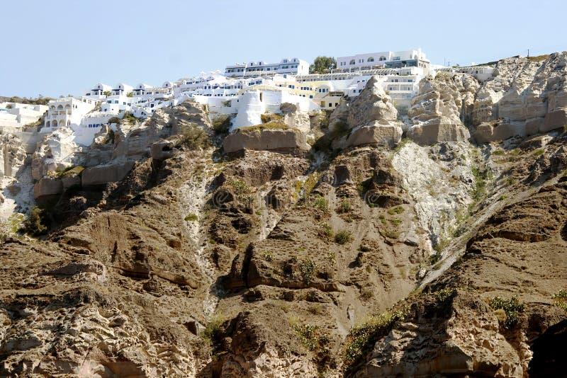 Panorama- sikt av Santorinis stad fotografering för bildbyråer