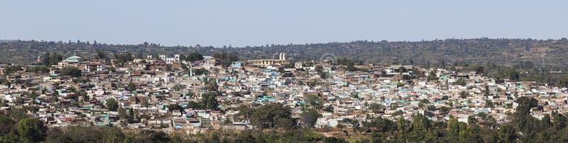 Panorama- sikt för fågelöga av staden av Jugol Harar ethiopia royaltyfri fotografi