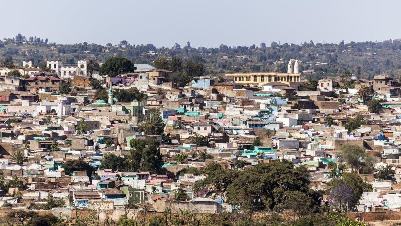Panorama- sikt för fågelöga av staden av Jugol Harar ethiopia arkivfoto