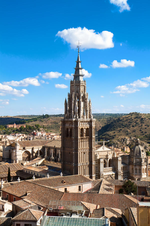 Panorama- sikt på domkyrka i Toledo, Spanien royaltyfria bilder