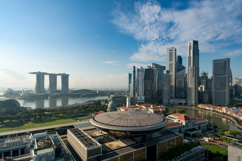 Panorama of Singapore business district skyline and Singapore sk stock photo