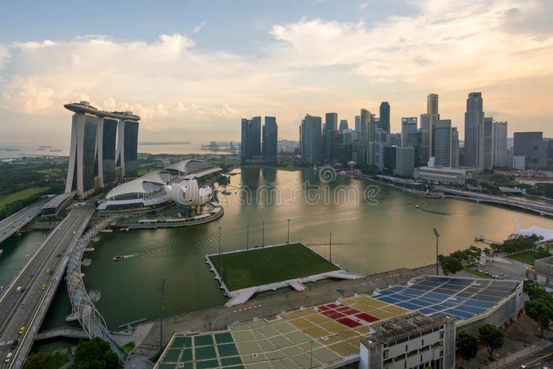 Panorama of Singapore business district skyline and Singapore sk royalty free stock photo