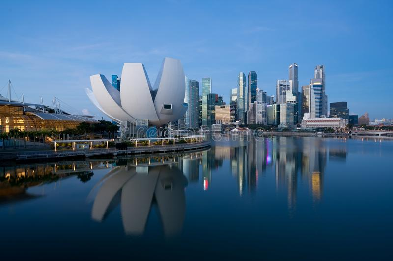 Panorama of Singapore business district skyline and Singapore sk royalty free stock photography