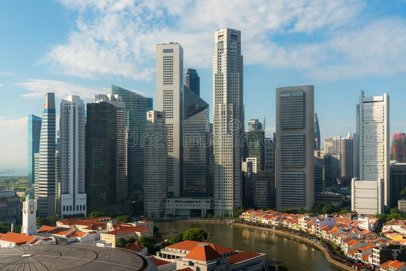 Panorama of Singapore business district skyline and skyscraper during sunrise at Marina Bay, Singapore. Asian tourism, modern city. Life, or business finance royalty free stock photography