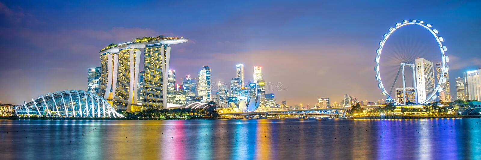 Panorama of Singapore city skyline royalty free stock photos