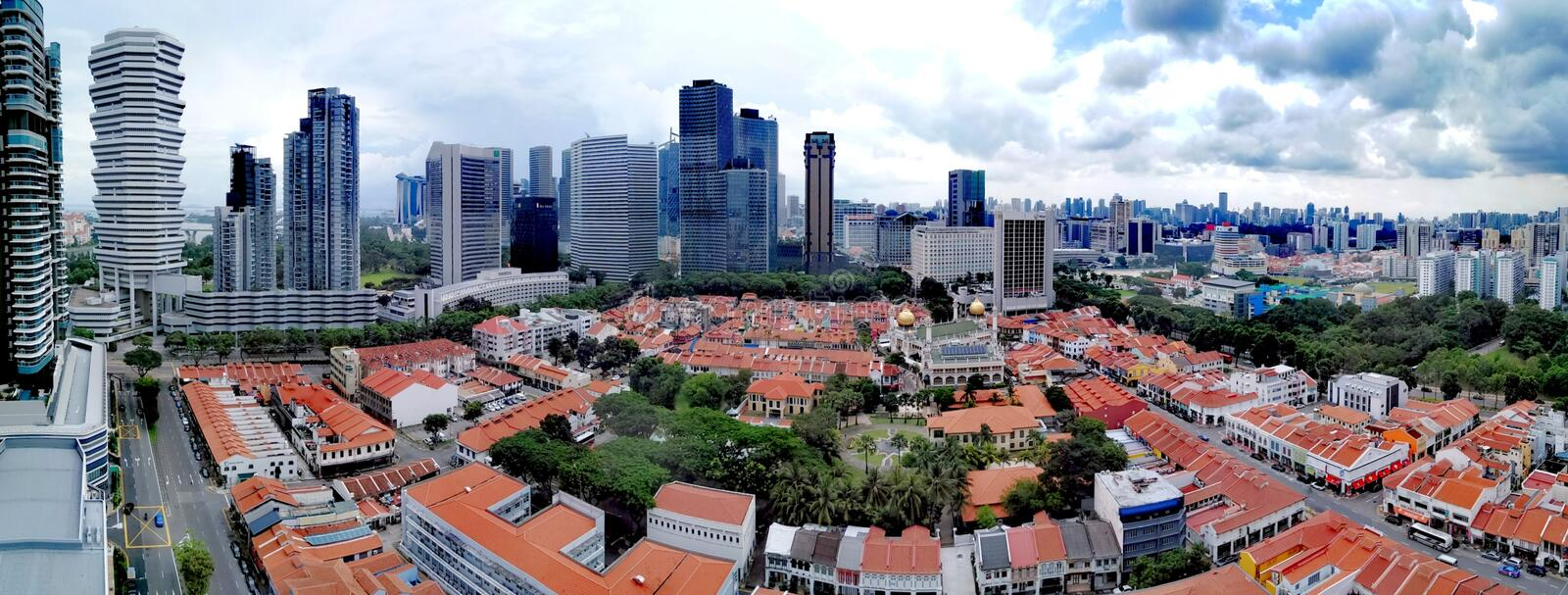 Panorama of Singapore downtown. Featuring Beach Road and Bugis Village area, sultan, masjid, mosque, malay, muslim, kampong, kampung, historical, district stock photo