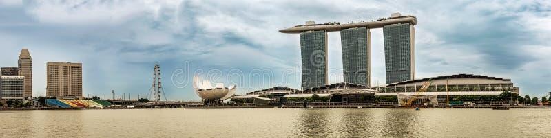 Panorama of the Singapore landmark architecture buildings. Singapore Jan 14, 2018: Panorama of the Singapore landmark architecture buildings like Marina Bay royalty free stock images