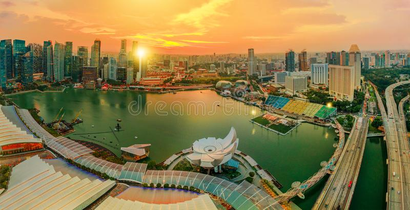 Panorama Marina bay Singapore royalty free stock photo