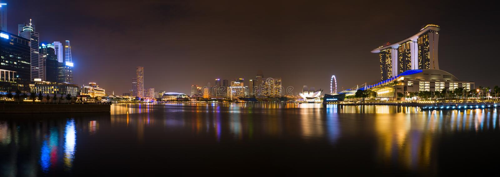 Download Panorama Of Singapore At Night Stock Image - Image of landscape, hotel: 26931507