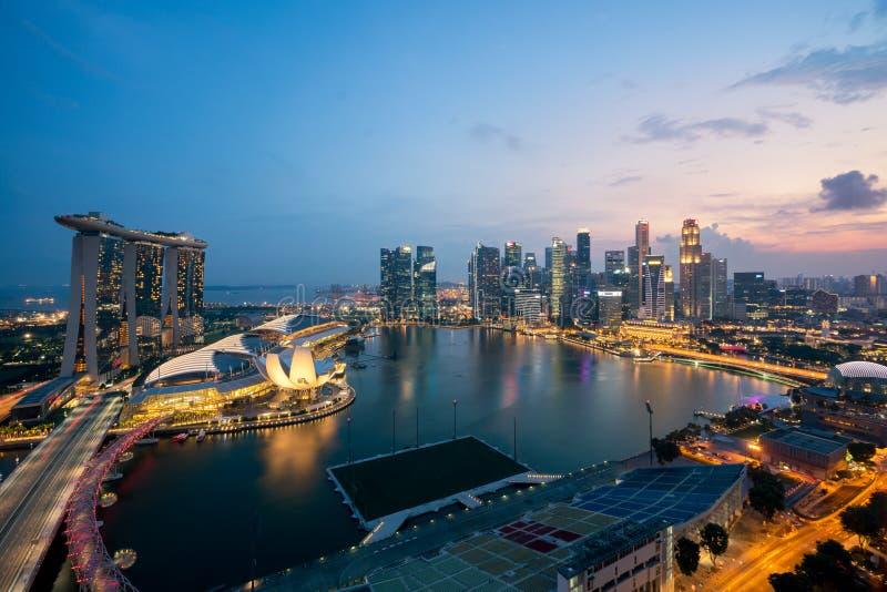 Panorama Singapur dzielnicy biznesu linia horyzontu sk i Singapur zdjęcia stock