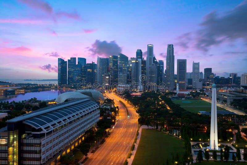 Panorama Singapur dzielnicy biznesu linia horyzontu sk i Singapur obraz stock