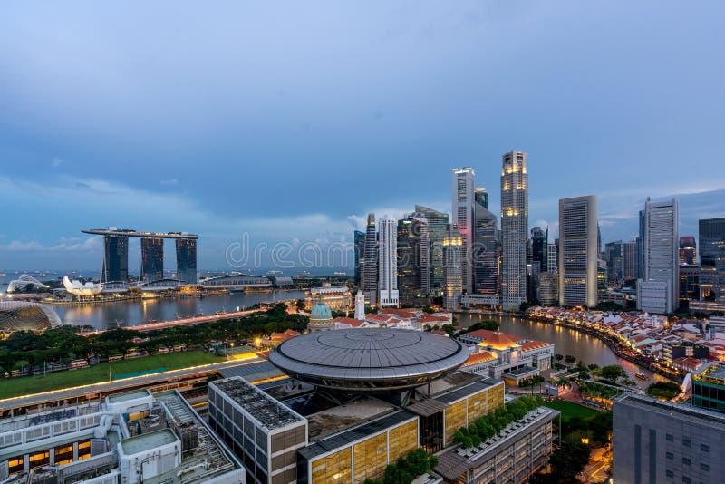 Panorama Singapur dzielnicy biznesu linia horyzontu sk i Singapur obrazy stock